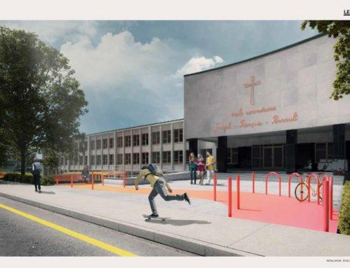 Une place publique devant l'école Perrault